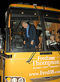 Cedar Rapids, IA - September 7, 2007 -- Former United States Senator Fred Thompson (Republican of Tennessee) arrives on his campaign bus for a Saturday rally at the the Cedar Rapids Marriott, Cedar Rapids, Iowa on Friday, September 7, 2007..Credit: Ron Sachs / CNP.(RESTRICTION: No New York Metro or other Newspapers within a 75 mile radius of New York City)