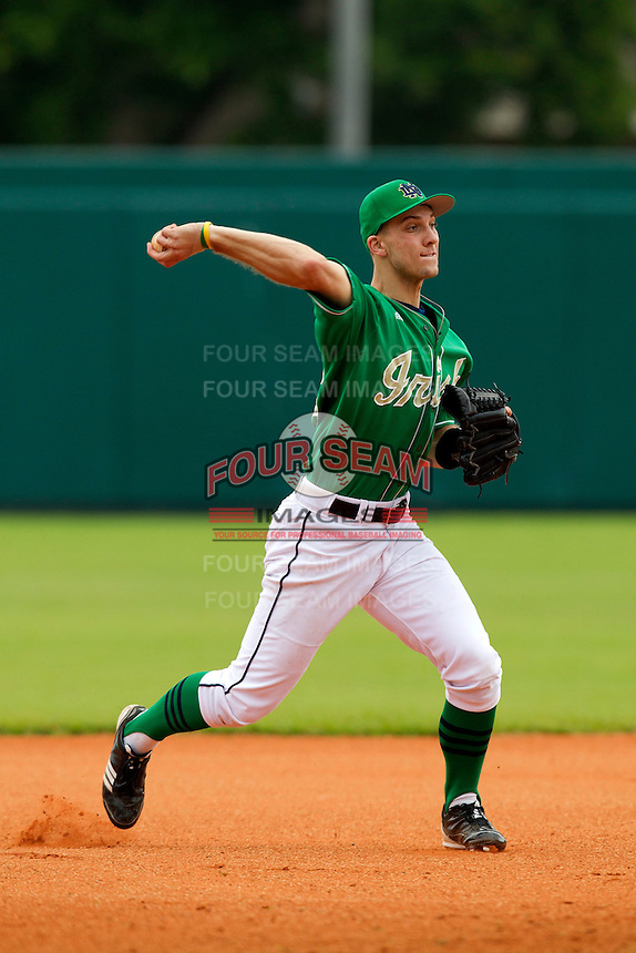 Notre Dame Fighting Irish third baseman Phil Mosey #33 during a game against the Purdue Boilermakers at the Big Ten/Big East Challenge at Al Lang Stadium on February 19, 2012 in St. Petersburg, Florida.  (Mike Janes/Four Seam Images)