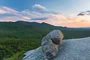 Scenic view from Middle Sugarloaf Mountain in Bethlehem, New Hampshire on a cloudy summer day.