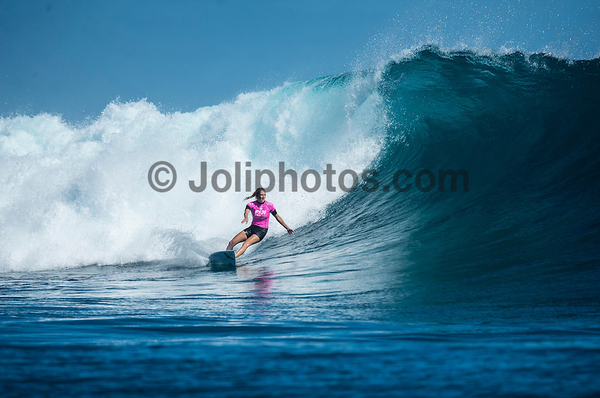 Namotu Island Resort, Namotu, Fiji. (Thursday May 29, 2014) Stephanie Gilmore (AUS) –  The Fiji Women's Pro, Stop No. 5 of 10 on the 2014  Women's World Championship Tour (WCT) was won today by Australian Sally Fitzgibbons who defeated five times World Surfing Champion Stephanie Gilmore (AUS) in the 35 minute final. The last day of the event was held at Cloudbreak in solid 6'-8' surf, possibly the largest surf an Women's World Tour event ah ever been run. The final day saw the remaining heats of Round 4 completed then right through to the final. Photo: joliphotos.com