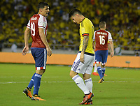 BARRANQUILLA - COLOMBIA -05-10-2017: James Rodriguez jugador de Colombia luce decepcionados después del partido entre Colombia y Paraguay de la fecha 17 para la clasificación a la Copa Mundial de la FIFA Rusia 2018 jugado en el estadio Metropolitano Roberto Melendez en Barranquilla. / James Rodriguez player of Colombia looks disappointed after the match between Colombia and Paraguay of the date 17 for the qualifier to FIFA World Cup Russia 2018 played at Metropolitan stadium Roberto Melendez in Barranquilla. Photo: VizzorImage / Alfonso Cervantes / Cont