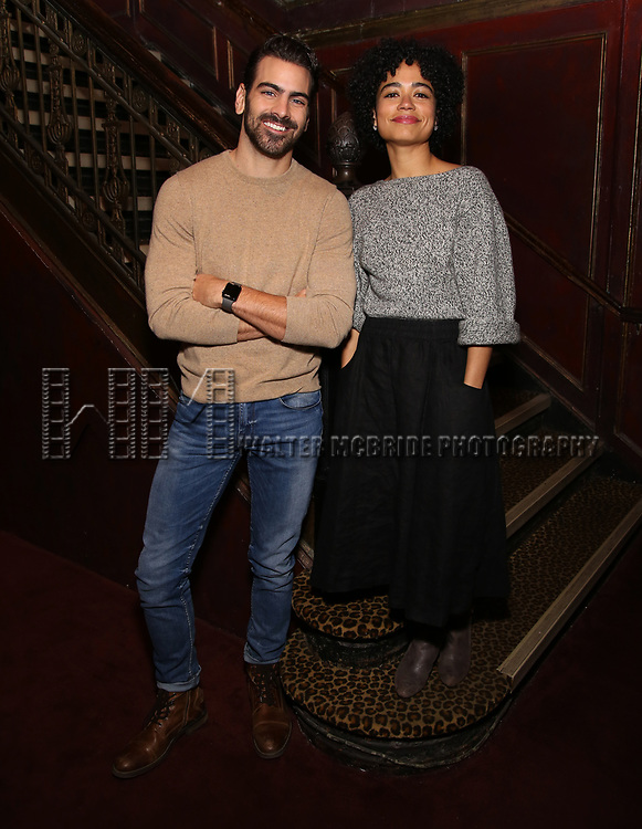 "Nyle DiMarco, making His Broadway Producing debut with Broadway's ""Children Of A Lesser God"", with lead actress Lauren Ridloff at Studio 54 on January 17, 2018 in New York City."