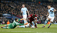Liverpool's Sadio Mane is tackled by Manchester City's Ederson but his efforts set-up team-mate Mohamed Salah for the equalising goal to make the score 1 - 1<br /> <br /> Photographer Rich Linley/CameraSport<br /> <br /> UEFA Champions League Quarter-Final Second Leg - Manchester City v Liverpool - Tuesday 10th April 2018 - The Etihad - Manchester<br />  <br /> World Copyright &copy; 2017 CameraSport. All rights reserved. 43 Linden Ave. Countesthorpe. Leicester. England. LE8 5PG - Tel: +44 (0) 116 277 4147 - admin@camerasport.com - www.camerasport.com