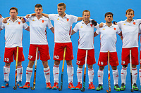 England players line up for the national anthem during the Hockey World League Semi-Final match between England and Netherlands at the Olympic Park, London, England on 24 June 2017. Photo by Steve McCarthy.