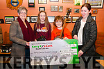 Cheque Presentation: Caoimhe Laide & Mikey Fealy of the Lixnaw Biddy Group presenting a cheque for €1501.84 to Breda Dyland & Trish Kelly of the Kerry Cancer Support Group at Quilters Bar, Lixnaw on Saturday night last.