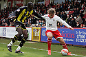Luke Freeman of Stevenage holds off Toumani Diagouraga of Brentford. - Stevenage v Brentford - npower League 1 - Lamex Stadium, Stevenage - 21st April, 2012. © Kevin Coleman 2012