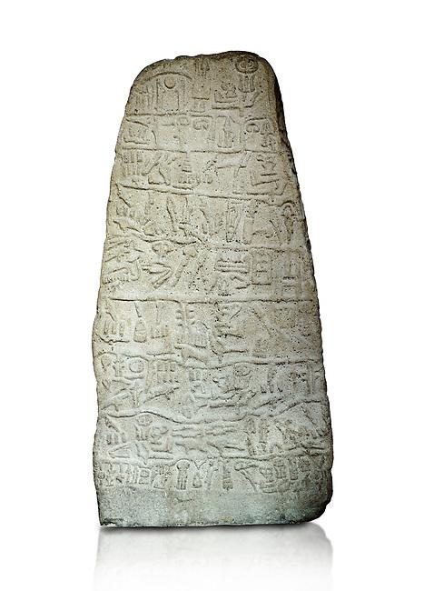Neo Hittite Period Hieroglyphic inscription on a stone orthostat - Anatolian Civilisations Museum, Ankara, Turkey. Against a white background.