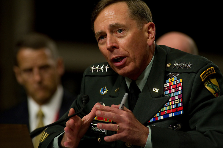 WASHINGTON, DC - June 29: U.S. Army Gen. David H. Petraeus during his Senate Armed Services nomination hearing to succeed ousted Army General Stanley A. McChrystal as head of U.S. forces in Afghanistan. Petraeus reaffirmed his support of a timeline for beginning a U.S. troop withdrawal from Afghanistan. (Photo by Scott J. Ferrell/Congressional Quarterly)