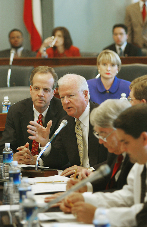 4/18/02.FARM BILL CONFERENCE--Saxby Chambliss, R-Ga., speaking, during the farm bill conference in the House Agriculture meeting room..CONGRESSIONAL QUARTERLY PHOTO BY SCOTT J. FERRELL