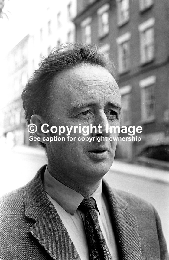 Captain James Kelly, former army officer, Rep of Ireland, who was found not guilty, along with two government ministers, of illegally importing arms for the Provisional IRA in 1970. This photograph was taken in June 1972 at an unspecified occasion or location. Captain Kelly died on 16th July 2003. 197206000358b.<br /> Copyright Image from Victor Patterson, 54 Dorchester Park, Belfast, UK, BT9 6RJ<br /> <br /> t1: +44 28 9066 1296 (from Rep of Ireland 048 9066 1296)<br /> t2: +44 28 9002 2446 (from Rep of Ireland 048 9002 2446)<br /> m: +44 7802 353836<br /> <br /> e1: victorpatterson@me.com<br /> e2: victorpatterson@gmail.com<br /> <br /> The use of any of my copyright images is subject to my Terms &amp; Conditions.<br /> <br /> It is IMPORTANT that you familiarise yourself with them. They are available on my website, victorpatterson.com.<br /> <br /> None of my copyright images may be used on the Internet unless they are visibly watermarked, i.e. &copy; Victor Patterson within the body of the image. Additionally metadata denoting my copyright must NOT be deleted. <br /> <br /> Web use is extra at currently recommended NUJ rates.