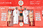 Adam Yates (GBR) Mitchelton-Scott wins Stage 3 The Emirates Stage and takes over the race leaders Red Jersey of the UAE Tour 2020 running 184km from Al Qudra Cycle Track to Jebel Hafeet, Dubai. 25th February 2020.<br /> Picture: LaPresse/Massimo Paolone   Cyclefile<br /> <br /> All photos usage must carry mandatory copyright credit (© Cyclefile   LaPresse/Massimo Paolone)