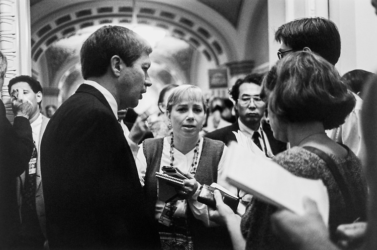 Rep. John Kasich, R-Ohio surrounded by reporters at Capitol Hill in Sept.,1995. (Photo by Laura Patterson/CQ Roll Call)