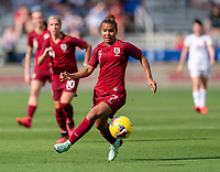 FRISCO, TX - MARCH 11: Nikita Parris #7 of England controls the ball during a game between England and Spain at Toyota Stadium on March 11, 2020 in Frisco, Texas.