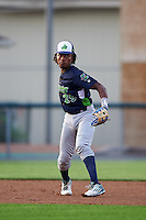Vermont Lake Monsters third baseman JaVon Shelby (29) throws to first during a game against the Auburn Doubledays on July 12, 2016 at Falcon Park in Auburn, New York.  Auburn defeated Vermont 3-1.  (Mike Janes/Four Seam Images)