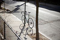 A bike stands locked to a street sign on the sidewalk of Amory Street in Cambridge, Massachusetts.