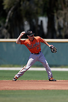 Baltimore Orioles Adam Hall (27) during a Minor League Spring Training game against the Minnesota Twins on March 25, 2019 at the Buck O'Neil Baseball Complex in Sarasota, Florida.  (Mike Janes/Four Seam Images)