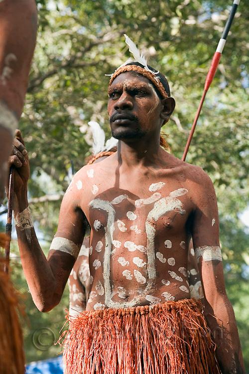 Indigenous dancer from the Aurukun community at the Laura Aboriginal Dance Festival.  Laura, Queensland, Australia