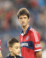 Chicago Fire midfielder Alvaro Fernandez (4). In a Major League Soccer (MLS) match, the New England Revolution defeated Chicago Fire, 1-0, at Gillette Stadium on October 20, 2012.