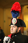 An Italian guard at the entrance of the press conference of Russian President Vladimir Putin and Enrico Letta, Italian Prime Minister at the Italo-Russian intergovernmental meeting in Trieste, on November 26, 2013.  <br /> <br /> Pierre Teyssot