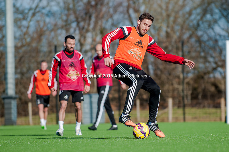 SWANSEA, WALES - FEBRUARY 17:  Angel Rangel of Swansea City  in action during a training session at the Fairwood training ground on February 17, 2015 in Swansea, Wales.  (Photo by Athena Pictures )
