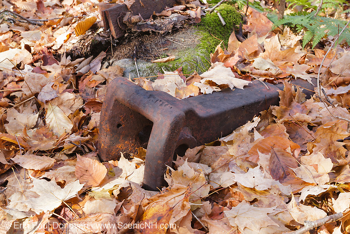 Artifact at Camp 6 of the Beebe River Railroad in Sandwich, New Hampshire USA. This was a logging railroad in operation from 1917 - 1942. This is believed to be an old style link and pin style coupler.