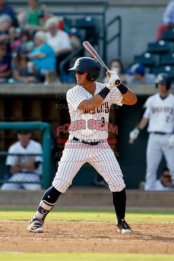 "Charleston Riverdogs infielder Wilkerman Garcia (3) at bat during a game against the Hickory Crawdads at the Joseph P. Riley Ballpark in Charleston, South Carolina. For Sunday games, the Riverdogs wear their ""Holy City"" uniforms in honor of the city's nickname. Hickory defeated Charleston 8-7. (Robert Gurganus/Four Seam Images)"