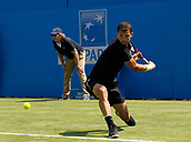 June 19th 2017, Queens Club, West Kensington, London; Aegon Tennis Championships, Day 1; Number six seed Grigor Dimitrov (BUL) hits a backhand during his first round singles match against Ryan Harrison (USA); Dimitrov won in straight sets