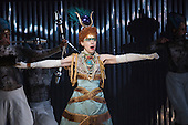 London, UK. 2 March 2016. Rebecca Bottone as Queen Tye. English National Opera (ENO) dress rehearsal of the Philip Glass opera Akhnaten at the London Coliseum. 7 performances from 4  to 18 March 2016. Directed by Phelim McDermott with Anthony Roth Costanzo as Akhnaten, Emma Carrington as Nefertiti, Rebecca Bottone as Queen Tye, James Cleverton as Horemhab, Clive Bayley as Aye, Colin Judson as High Priest of Amon and Zachary James as Scribe. Skills performances by Gandini Juggling.