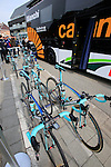 Vacansoleil-DCM team Bianchi Oltre bikes lined up outside the team bus before the start of the 56th edition of the E3 Harelbeke, Belgium, 22nd  March 2013 (Photo by Eoin Clarke 2013)