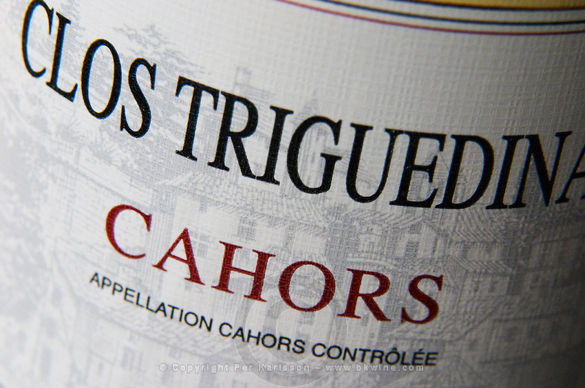 Detail of label with the words Clos Triguedina Cahors Lot Valley France