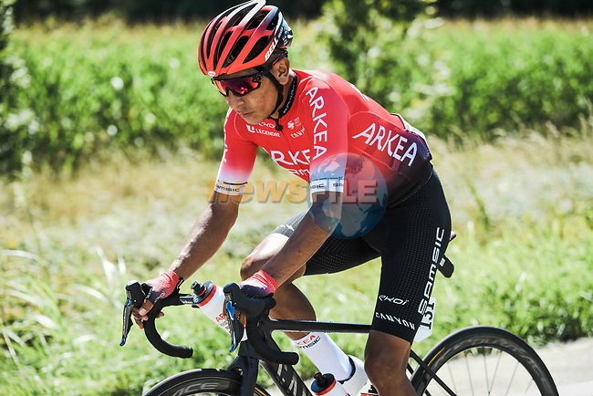 The peloton including Nairo Quintana (COL) Team Arkea-Samsic during Stage 3 of Criterium du Dauphine 2020, running 157km from Corenc to Saint-Martin-de-Belleville, France. 14th August 2020.<br /> Picture: ASO/Alex Broadway | Cyclefile<br /> All photos usage must carry mandatory copyright credit (© Cyclefile | ASO/Alex Broadway)