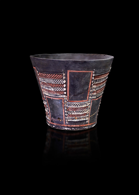 Minoan Kamares Ware sup with bold geometric polychrome decorations , Phaistos 1900-1700 BC; Heraklion Archaeological  Museum, black background.<br /> <br /> This style of pottery is named afetr Kamares cave where this style of pottery was first found
