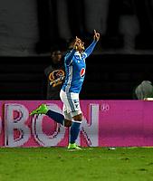 BOGOTA - COLOMBIA - 09 – 05 - 2017: Cristian Arango, jugador de Millonarios, celebra el segundo gol anotado a Cortulua, durante partido de la fecha 17 entre Millonarios y Cortulua,  por la Liga Aguila I-2017, jugado en el estadio Nemesio Camacho El Campin de la ciudad de Bogota. / Cristian Arango, player of Millonarios celebrates the second scored goal to Cortulua,  during a match of the date 17th between Millonarios and Cortulua,  for the Liga Aguila I-2017 played at the Nemesio Camacho El Campin Stadium in Bogota city, Photo: VizzorImage / Luis Ramirez / Staff.