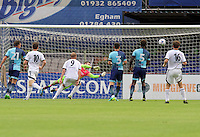 Goalkeeper Scott Brown of Wycombe Wanderers makes a good save during the Friendly match between Aldershot Town and Wycombe Wanderers at the EBB Stadium, Aldershot, England on 26 July 2016. Photo by Alan  Stanford.