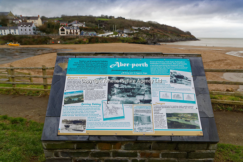 WORDS BY JANE FRYER, DAILY MAIL<br /> Pictured: A plaque with the brief history of Aberporth, west Wales, UK. Thursday 21 December 2017<br /> Re: The Welsh coastal village of Aberporth has launched a crusade against single-use plastic products.<br /> The village's general store is selling milk in glass bottles and a pub has replaced plastic drinking straws with paper ones.<br /> Residents launched Plastic-free Aberporth as the UK government's Environment Secretary, Michael Gove, issued his four-point plan for tackling plastic waste.