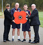 Rangers manager Mark Warburton and Lee Hodson with veterans Jason Henderson and Robert Brown fron Erskine