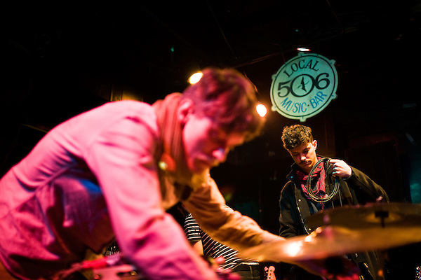 March 25, 2009. Chapel Hill, NC.. The Danish band, Efterklang, played a packed show at the Local 506 after a busy week at South By Southwest in Austin, TX.. Casper, left, and Rasmus set up.