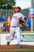 Wisconsin Timber Rattlers pitcher Victor Diaz (34) during game one of a Midwest League doubleheader against the Kane County Cougars on June 23, 2017 at Fox Cities Stadium in Appleton, Wisconsin.  Kane County defeated Wisconsin 4-3. (Brad Krause/Krause Sports Photography)