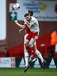 Chris Basham of Sheffield Utd challenges Ben Nugent of Crewe Alexandra during the Sky Bet League One match at Bramall Lane Stadium. Photo credit should read: Simon Bellis/Sportimage