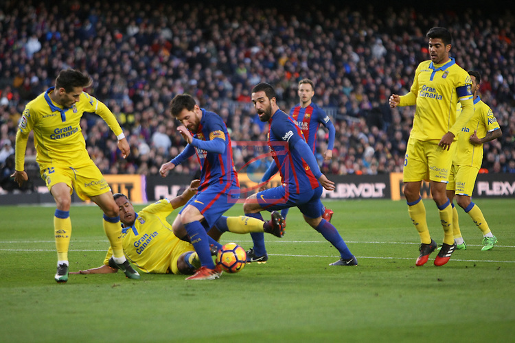 League Santander 2016/2017. Game: 18.<br /> FC Barcelona vs UD Las Palmas: 5-0.<br /> Lemos, Messi, Turan &amp; Aythami.