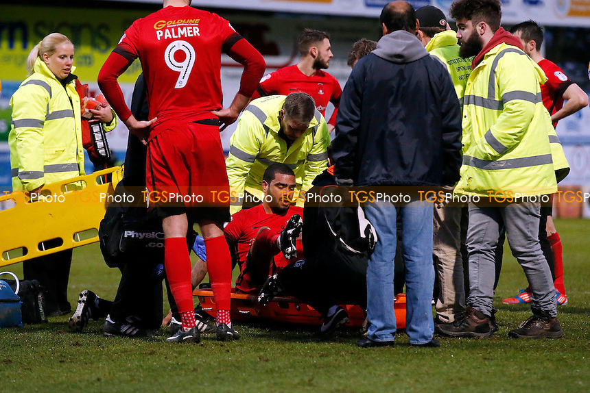 O's Paul McCallum stretchered off during Mansfield Town vs Leyton Orient, Sky Bet EFL League 2 Football at the One Call Stadium on 28th January 2017