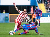 P.Diop and Óscar Díaz  during the match at Levante U.D. 1 - 0 Almeria C.F. in BBVA League match played at the Ciudad de Valencia stadium (Valencia). Scoreboard: Barral for Levante. (photo: Francesc Juan)