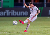 17th July 2020, Orlando, Florida, USA;  Real Salt Lake defender Aaron Herrera (22) shoots the ball during the MLS Is Back Tournament between the Real Salt Lake versus Minnesota United FC on July 17, 2020 at the ESPN Wide World of Sports, Orlando FL.