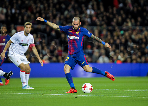 29th November 2017, Camp Nou, Barcelona, Spain; Copa Del Rey, Barcelona versus Real Murcia;  Aleix Vidalgets a good shot on goal