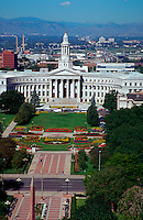 Aerial of the Denver City and Country building and Courthouse and Civic Center Park. Colorado.