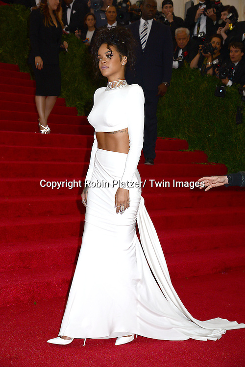 Rihanna attends the Costume Institute Benefit on May 5, 2014 at the Metropolitan Museum of Art in New York City, NY, USA. The gala celebrated the opening of Charles James: Beyond Fashion and the new Anna Wintour Costume Center.