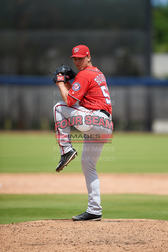 Washington Nationals pitcher A.J. Bogucki (53) during a Minor League Spring Training game against the Miami Marlins on March 28, 2018 at FITTEAM Ballpark of the Palm Beaches in West Palm Beach, Florida.  (Mike Janes/Four Seam Images)