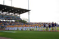 LSU Tiger baseball team lines up for the national anthem at Alex Box Stadium before the NCAA Super Regional baseball game on June 10, 2012 in Baton Rouge, Louisiana.(Andrew Woolley/Four Seam Images)