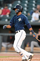 Second baseman Luis Carpio (11) of the Columbia Fireflies bats in a game against the Augusta GreenJackets on Sunday, July 30, 2017, at Spirit Communications Park in Columbia, South Carolina. Augusta won, 6-0. (Tom Priddy/Four Seam Images)