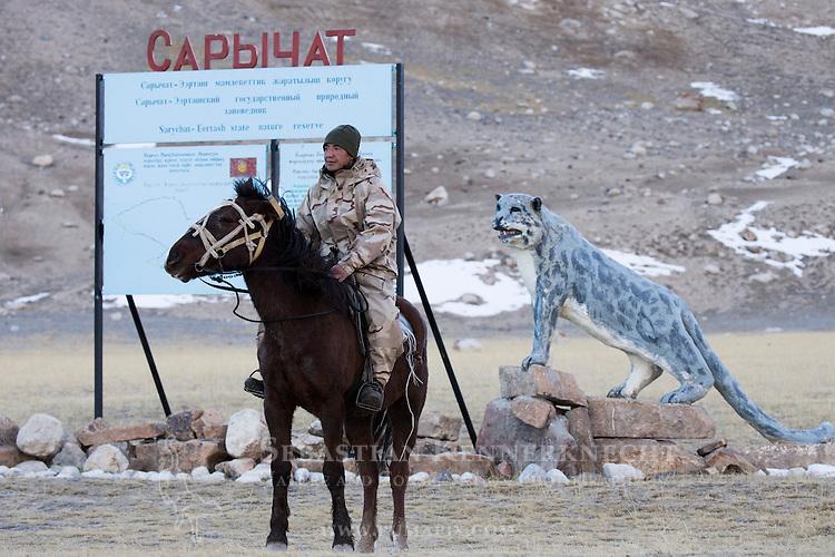 Ranger Temirbek Jandrbaev patrolling area near entrance to the reserve, Sarychat-Ertash Strict Nature Reserve, Tien Shan Mountains, eastern Kyrgyzstan